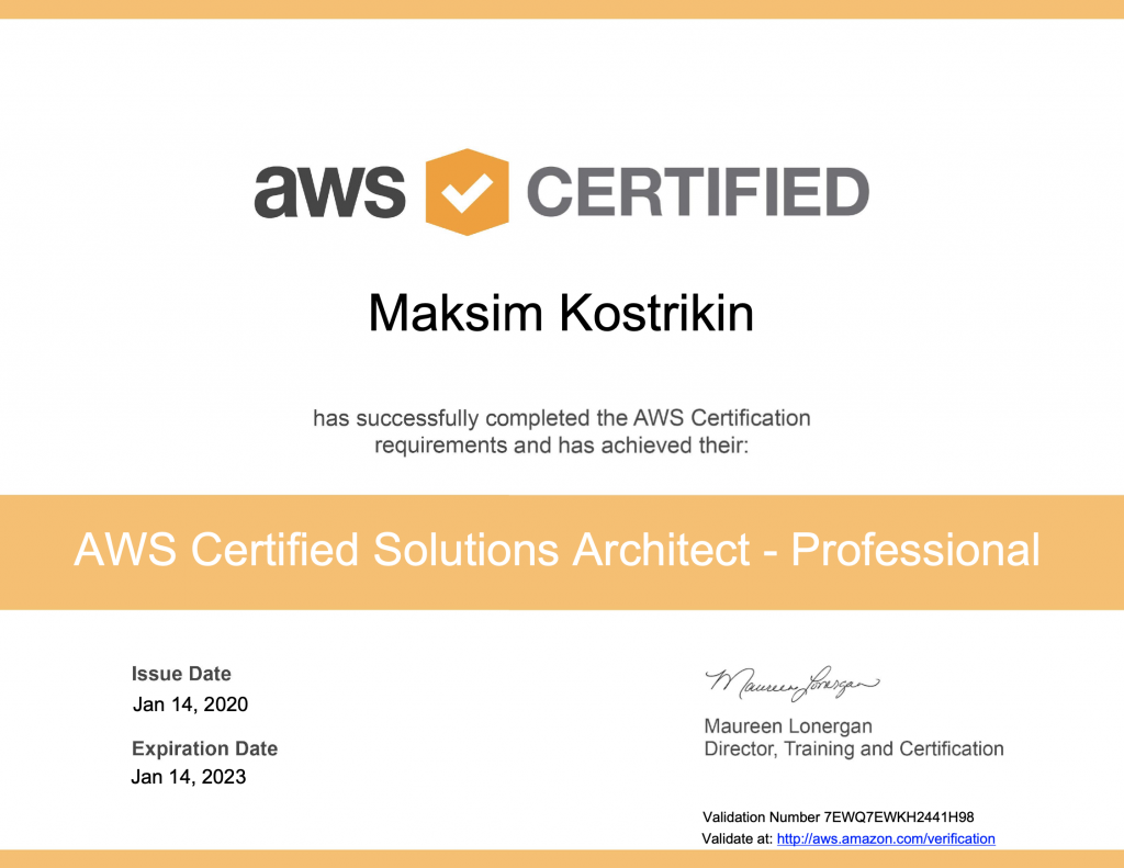 Maksim Kostrikin – AWS Certified Solutions Architect Professional